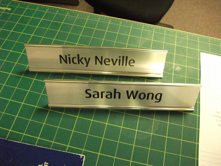 DESK NAMES, DOOR NAMES AND BADGES
